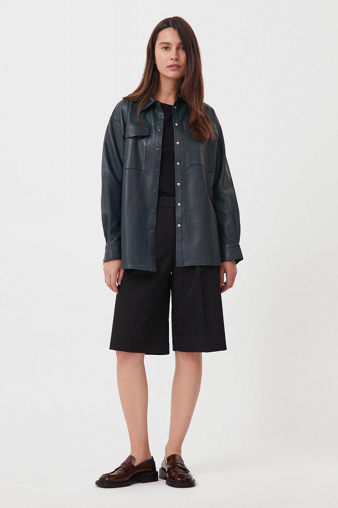 Кожаная женская рубашка оверсайз, Модель FAB11804, Фото №3