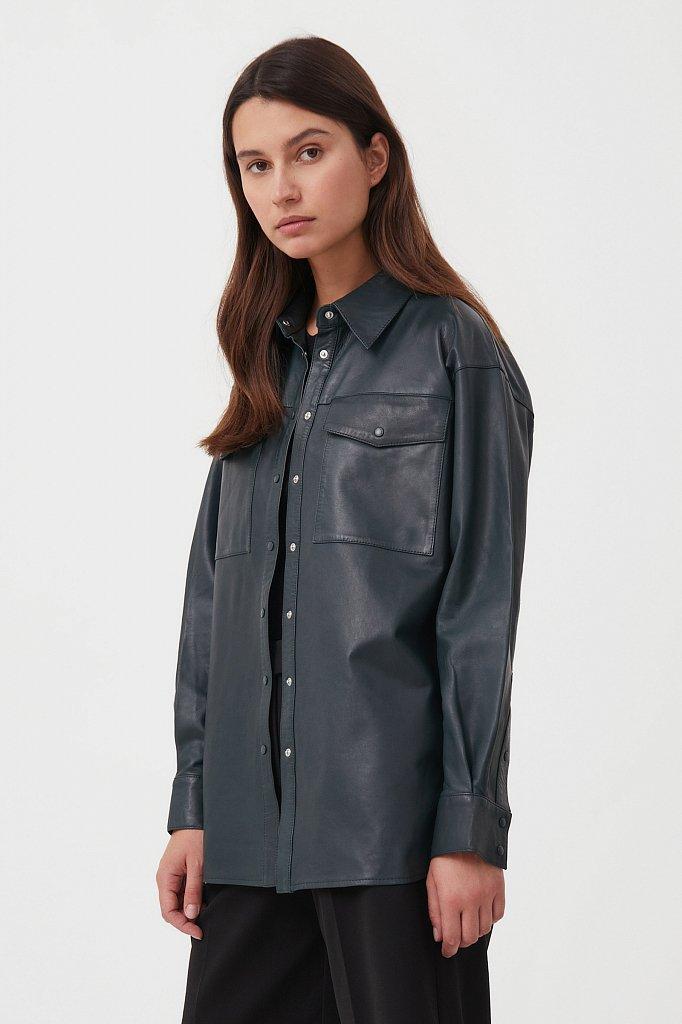 Кожаная женская рубашка оверсайз, Модель FAB11804, Фото №4