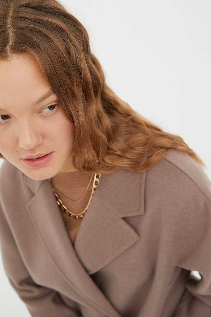 Драповое женское пальто свободного кроя, Модель FAB110211, Фото №5