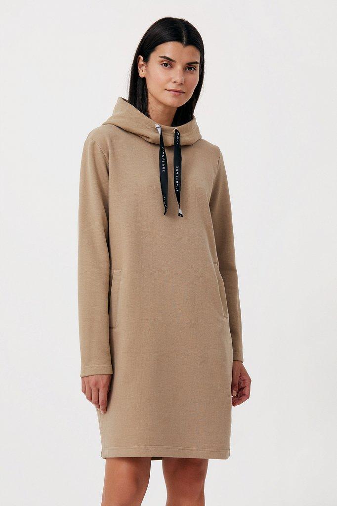 Свободное платье в спортивном стиле с капюшоном, Модель FAB110210, Фото №1