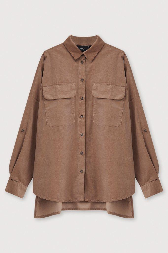 Вельветовая женская рубашка оверсайз с карманами, Модель FAB11047, Фото №7