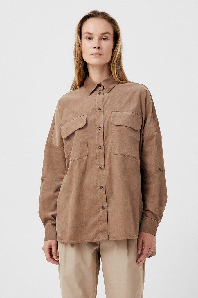 Вельветовая женская рубашка оверсайз с карманами, Модель FAB11047, Фото №1
