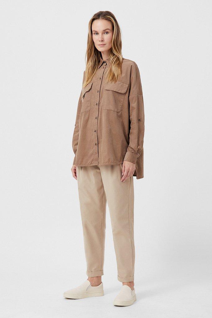 Вельветовая женская рубашка оверсайз с карманами, Модель FAB11047, Фото №2