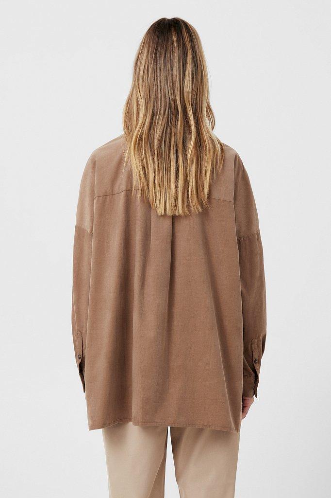 Вельветовая женская рубашка оверсайз с карманами, Модель FAB11047, Фото №4