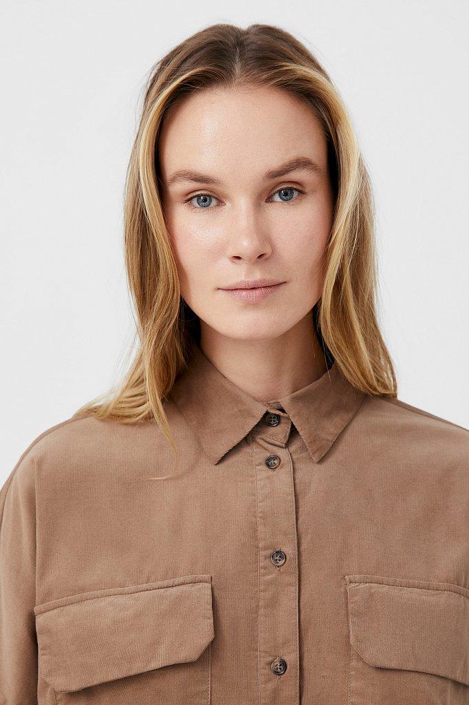 Вельветовая женская рубашка оверсайз с карманами, Модель FAB11047, Фото №5