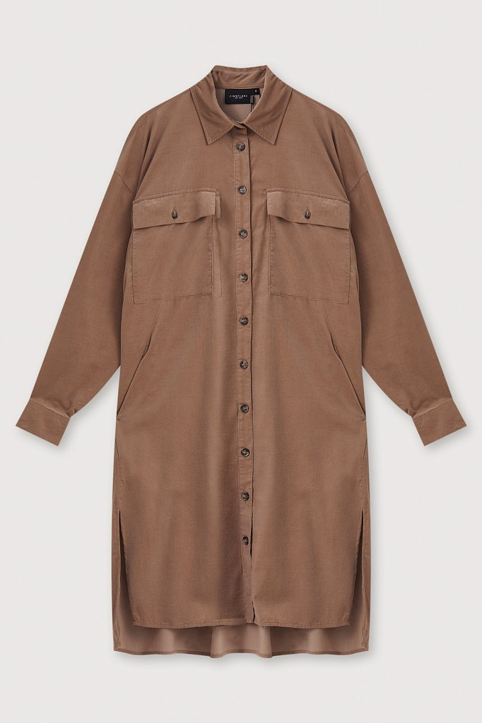 Вельветовое женское платье-рубашка оверсайз, Модель FAB11050, Фото №7