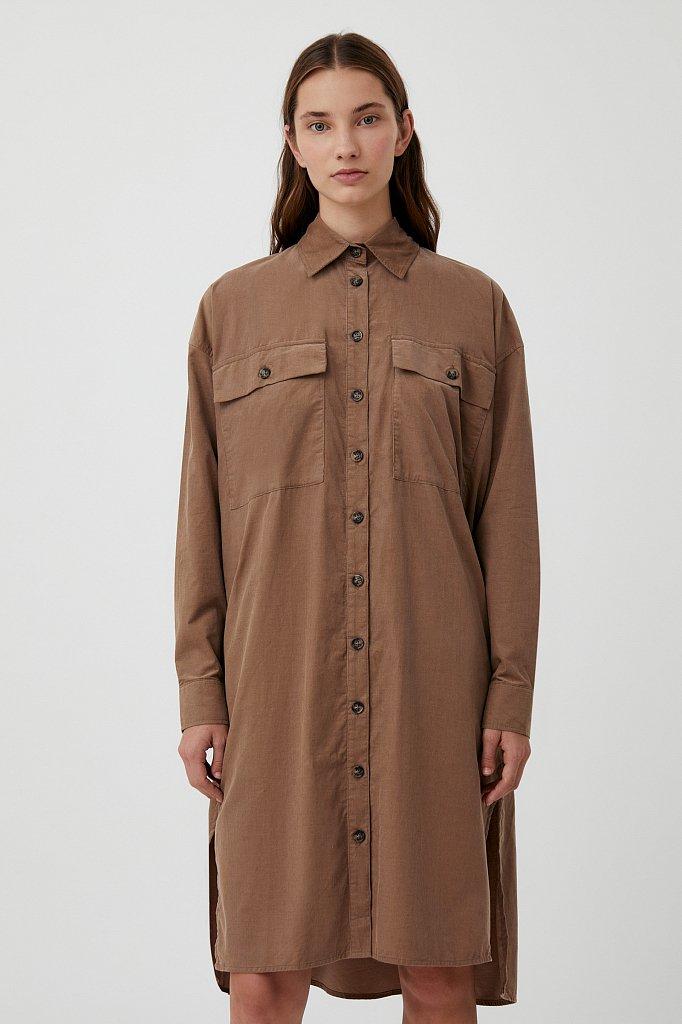 Вельветовое женское платье-рубашка оверсайз, Модель FAB11050, Фото №1