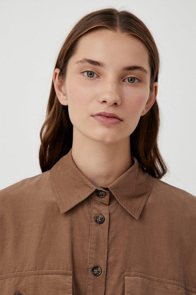 Вельветовое женское платье-рубашка оверсайз, Модель FAB11050, Фото №5