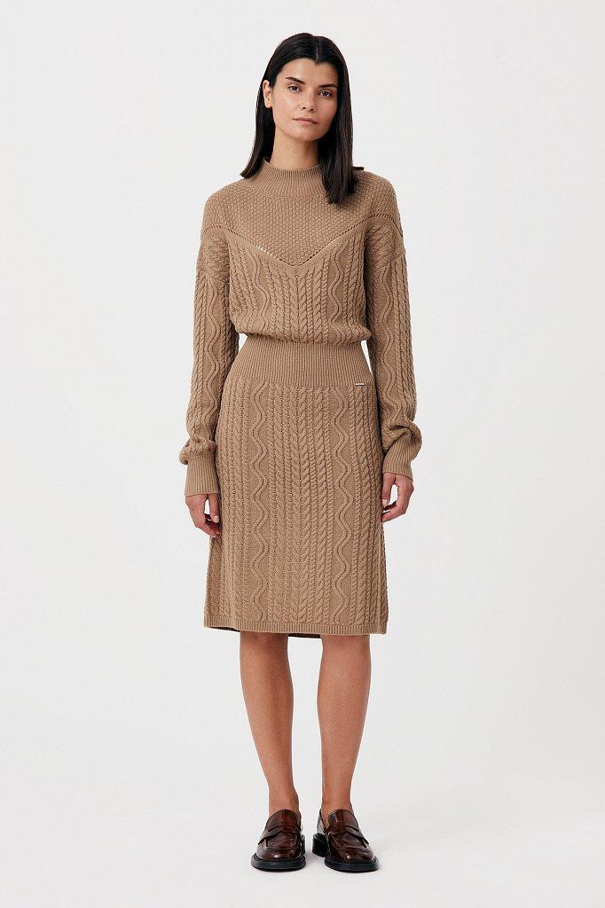 Трикотажное платье прямого кроя с вязкой аранами, Модель FAB111113, Фото №1