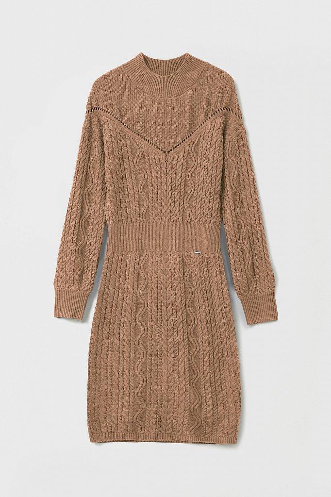 Трикотажное платье прямого кроя с вязкой аранами, Модель FAB111113, Фото №7