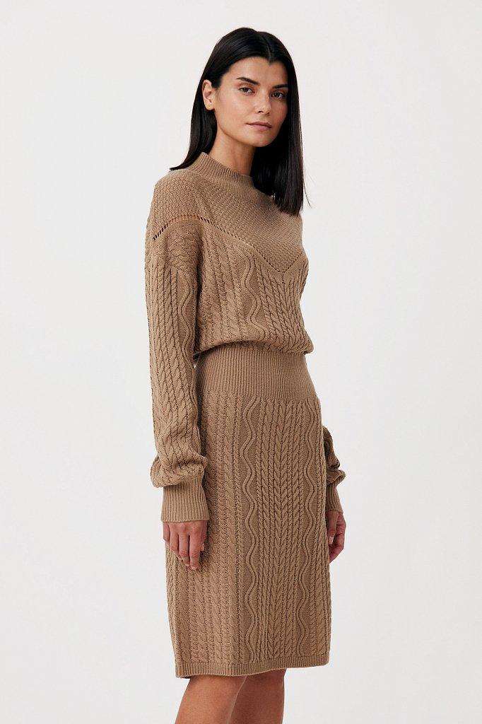 Трикотажное платье прямого кроя с вязкой аранами, Модель FAB111113, Фото №3
