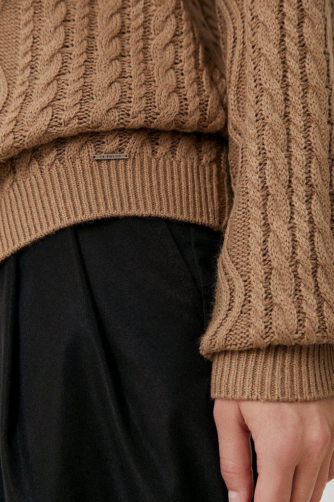 Женский трикотажный джемпер с вязкой аранами, Модель FAB11162, Фото №5