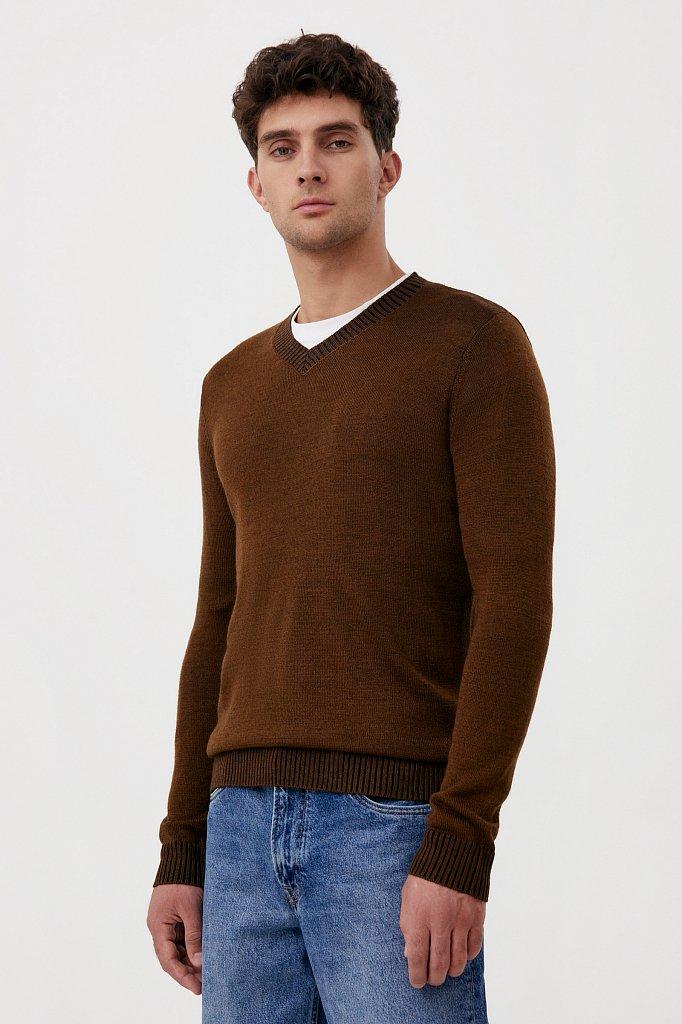 Пуловер мужской прямого силуэта с шерстью, Модель FAB21103, Фото №3