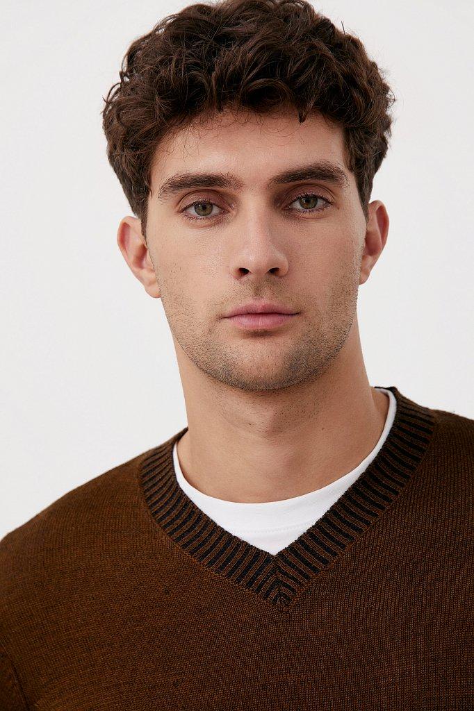 Пуловер мужской прямого силуэта с шерстью, Модель FAB21103, Фото №6