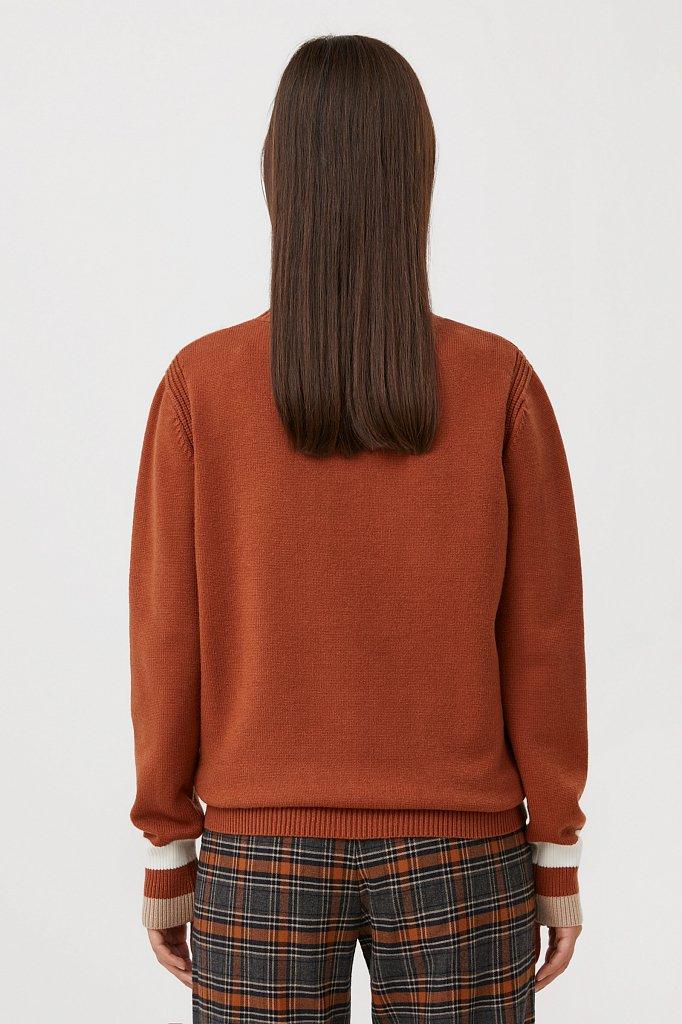 Женский базовый джемпер с принтом на манжетах, Модель FAB11160, Фото №4