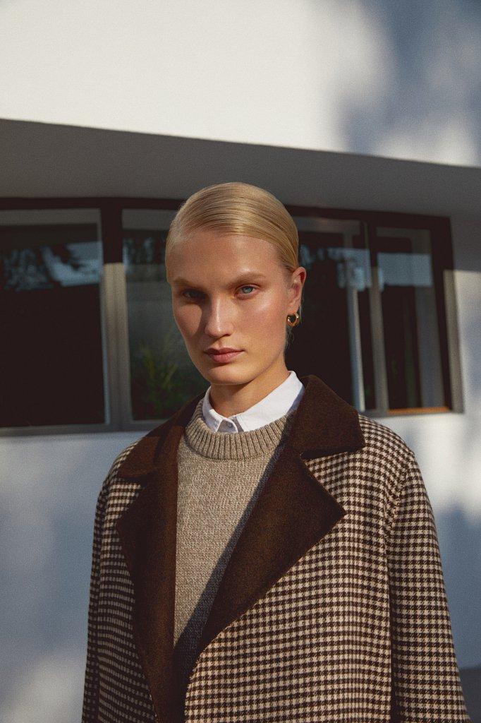 Пальто женское прямого кроя с шерстью, Модель FAB11085, Фото №1