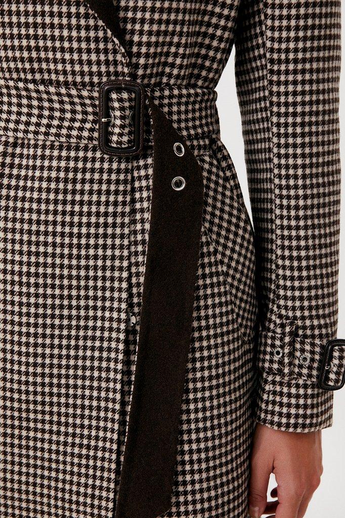 Пальто женское прямого кроя с шерстью, Модель FAB11085, Фото №5
