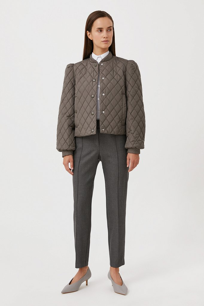 Стеганая женская куртка с объемными рукавами, Модель FAB110136, Фото №2