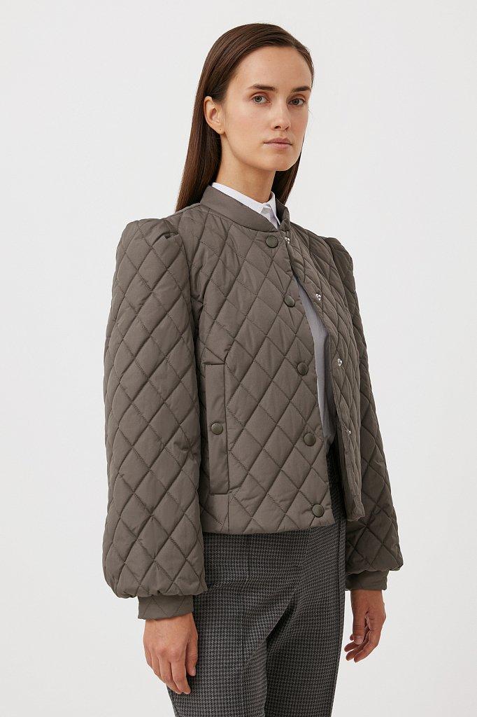 Стеганая женская куртка с объемными рукавами, Модель FAB110136, Фото №3