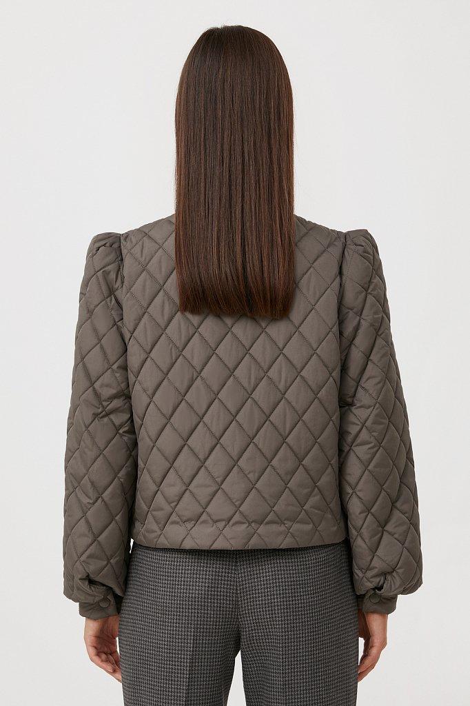 Стеганая женская куртка с объемными рукавами, Модель FAB110136, Фото №4
