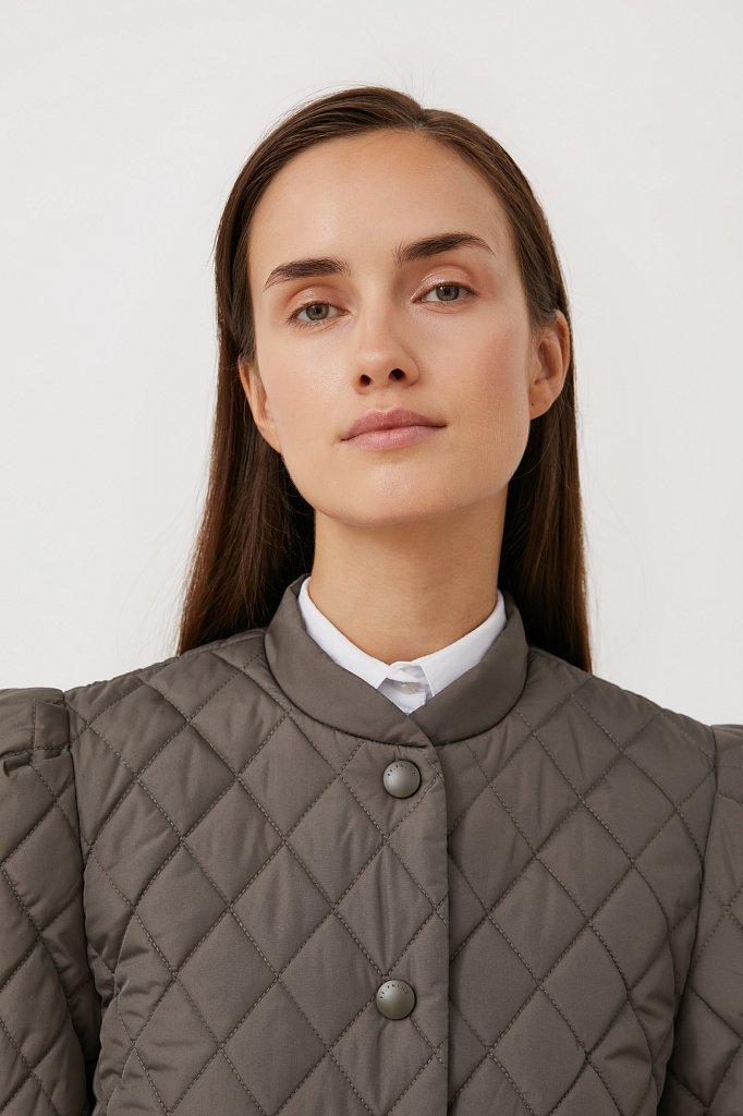 Стеганая женская куртка с объемными рукавами, Модель FAB110136, Фото №6