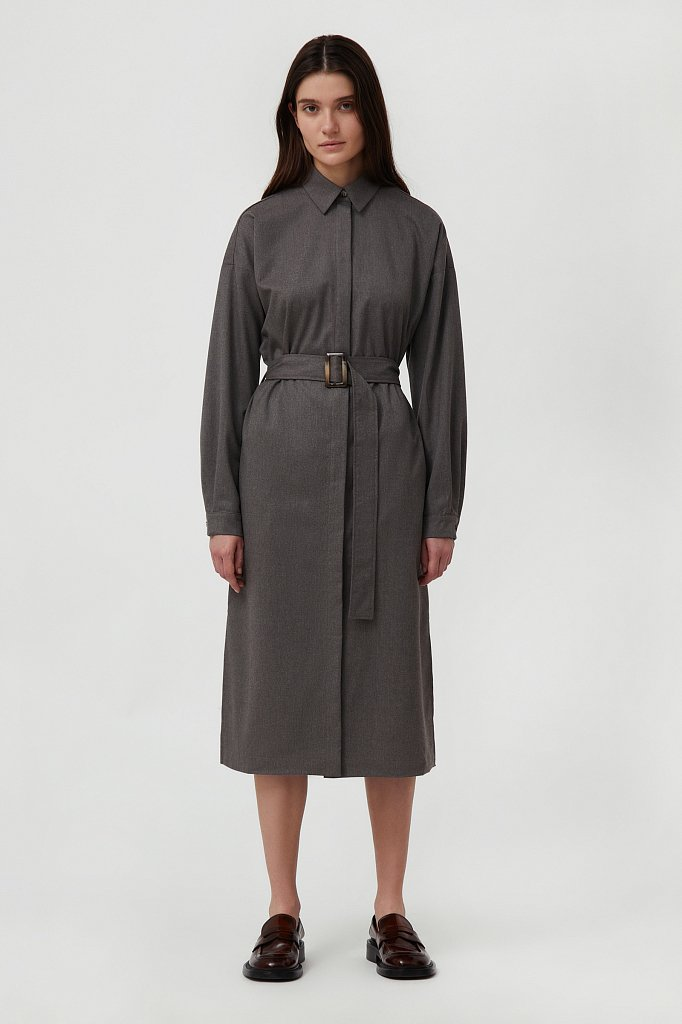 Платье-рубашка женское из мягкой смесовой ткани, Модель FAB11036, Фото №1
