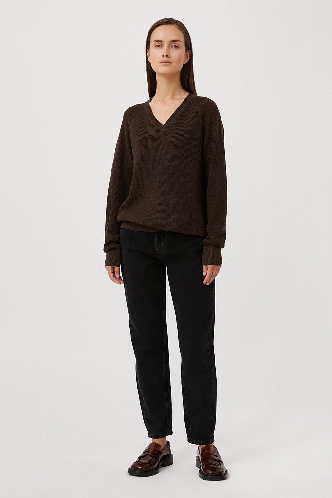 Женский базовый пуловер прямого силуэта с шерстью, Модель FAB111114, Фото №2