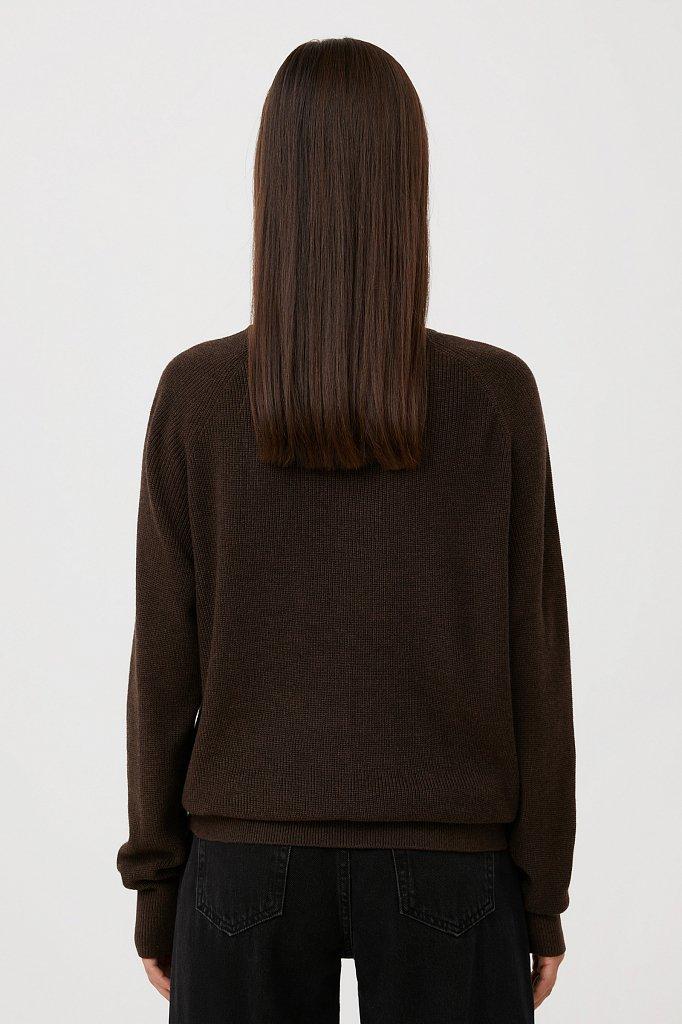 Женский базовый пуловер прямого силуэта с шерстью, Модель FAB111114, Фото №4