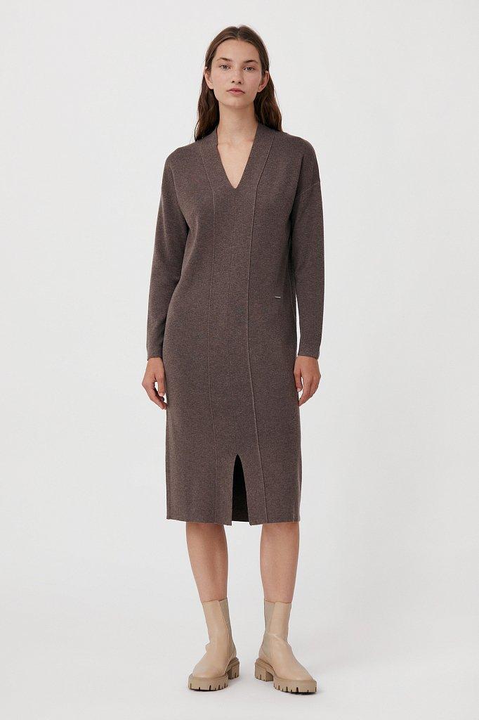 Женское трикотажное платье прямого кроя с шерстью, Модель FAB11190, Фото №1