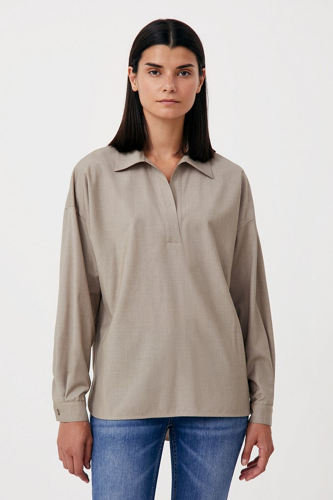 Блузка свободного кроя с удлиненной спинкой, Модель FAB110134R, Фото №1