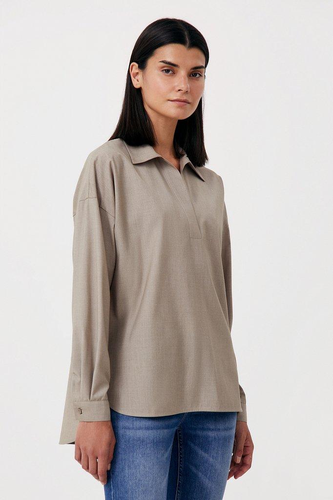Блузка свободного кроя с удлиненной спинкой, Модель FAB110134R, Фото №3