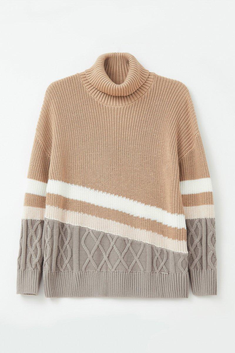 Женский свитер с различными вязанными узорами, Модель FAB11124, Фото №7