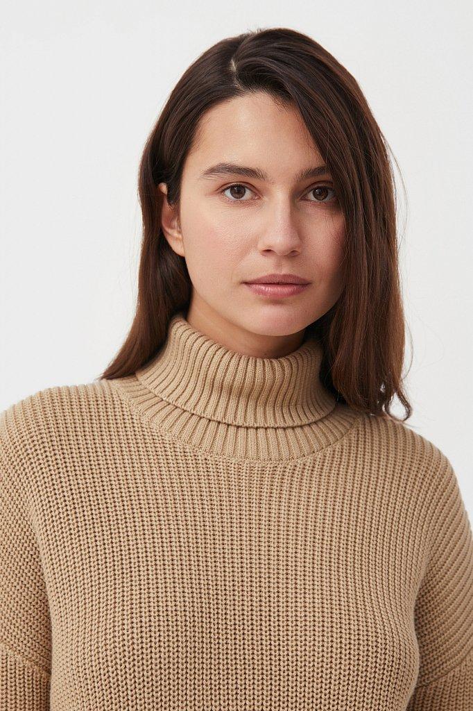 Женский свитер с различными вязанными узорами, Модель FAB11124, Фото №6