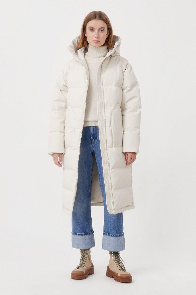 Пуховое женское пальто свободного кроя, Модель FAB11086, Фото №1