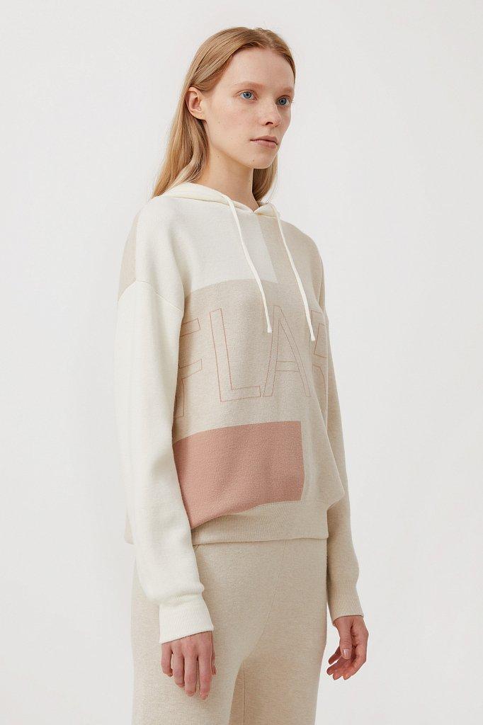 Свободное женское худи в стиле color block, Модель FAB11183, Фото №3