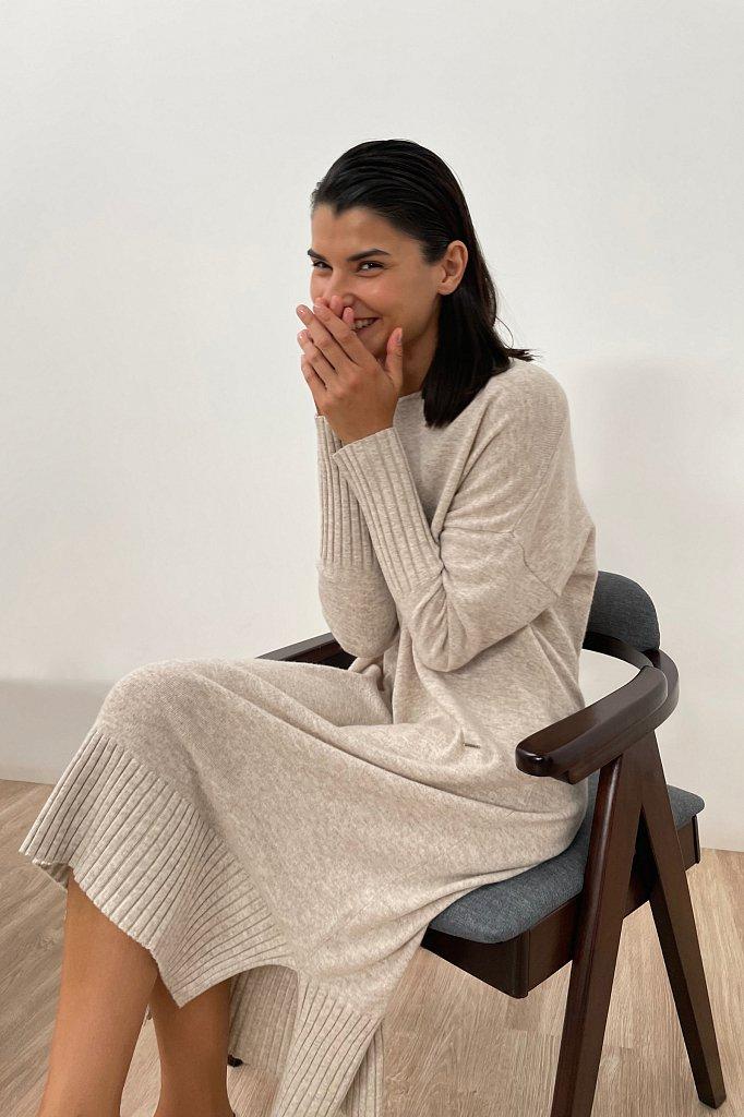 Женское трикотажное платье из шерсти и кашемира, Модель FAB11191, Фото №1