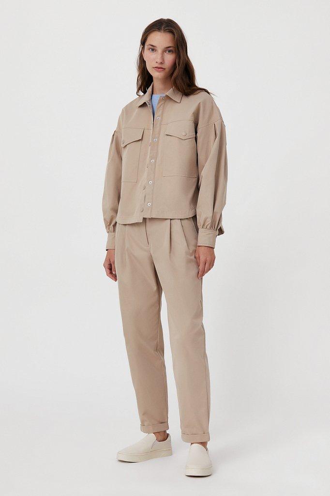 Женская рубашка c объемными рукавами и карманами, Модель FAB11009, Фото №3