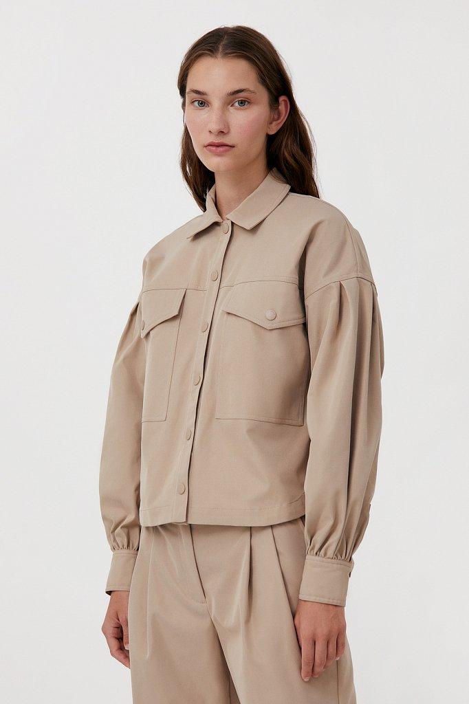 Женская рубашка c объемными рукавами и карманами, Модель FAB11009, Фото №4