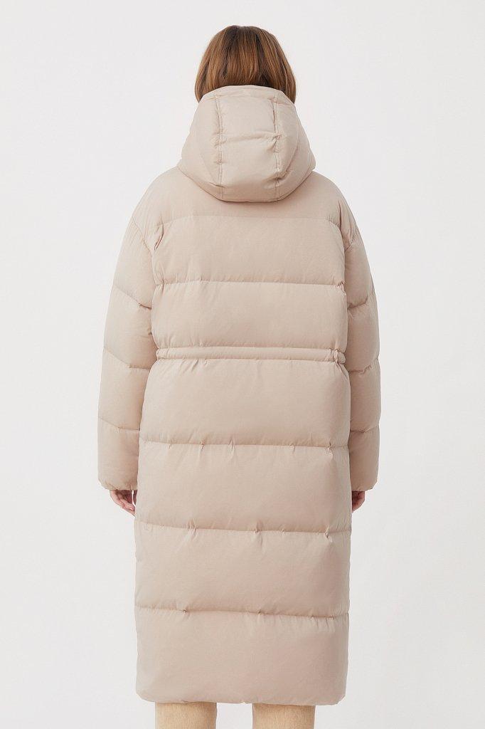 Пуховое женское пальто свободного кроя, Модель FAB110183, Фото №4