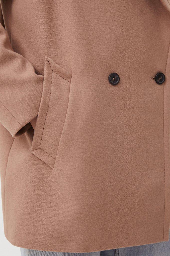 Двубортное женское полупальто свободного кроя, Модель FAB110190, Фото №5