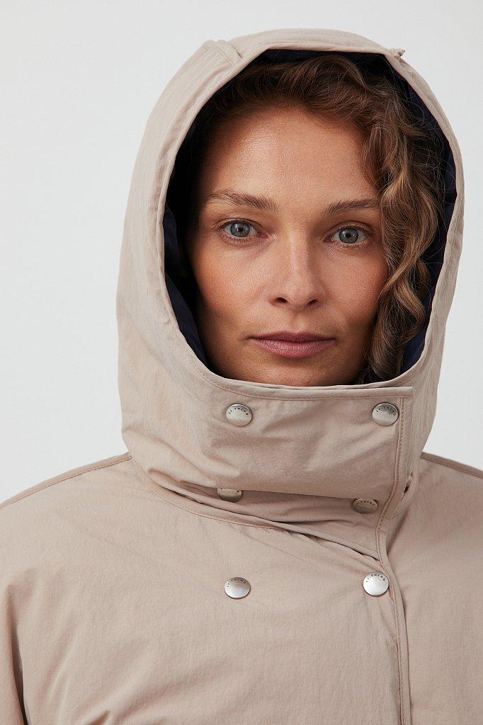 Утепленная двусторонняя куртка женская с капюшоном, Модель FAB110206, Фото №6