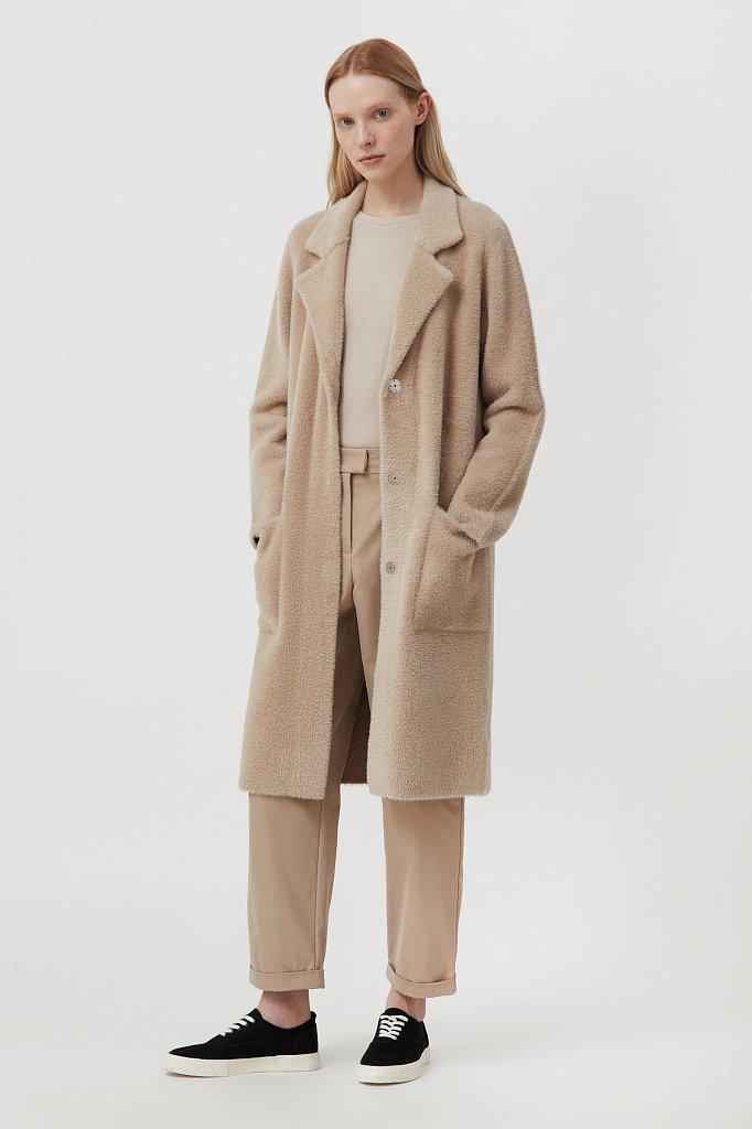 Пальто женское прямого кроя из пряжи с ворсом, Модель FAB11103, Фото №1