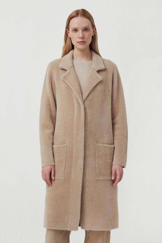 Пальто женское прямого кроя из пряжи с ворсом, Модель FAB11103, Фото №2