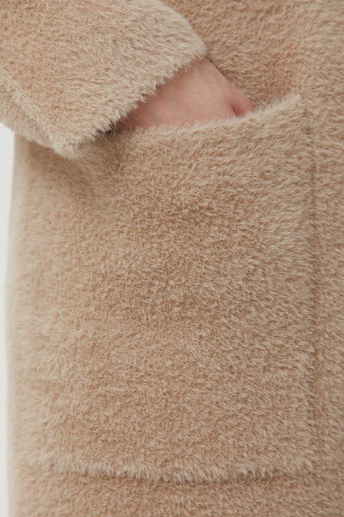 Пальто женское прямого кроя из пряжи с ворсом, Модель FAB11103, Фото №5