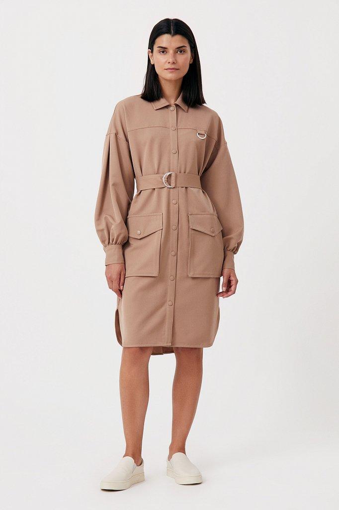 Платье-рубашка оверсайз с объемными рукавами, Модель FAB11011, Фото №1