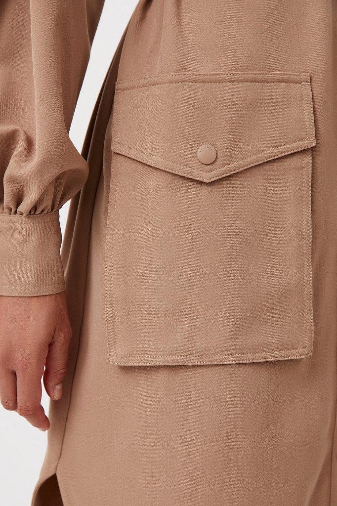 Платье-рубашка оверсайз с объемными рукавами, Модель FAB11011, Фото №5
