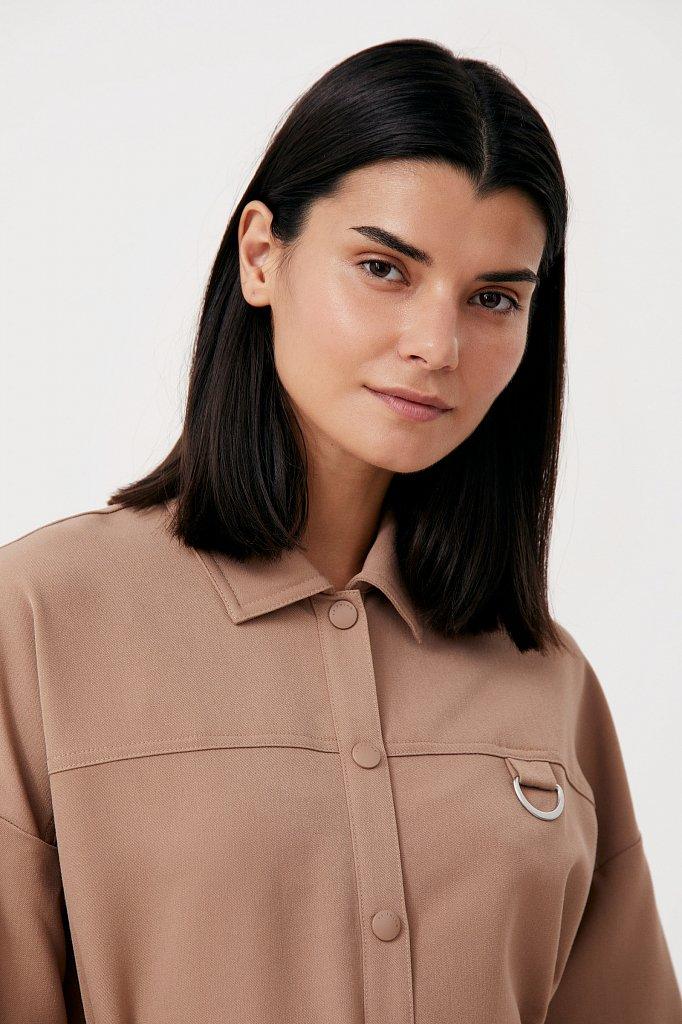 Платье-рубашка оверсайз с объемными рукавами, Модель FAB11011, Фото №6