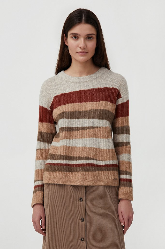 Женский джемпер с шерстью в стиле color block, Модель FAB11157, Фото №1