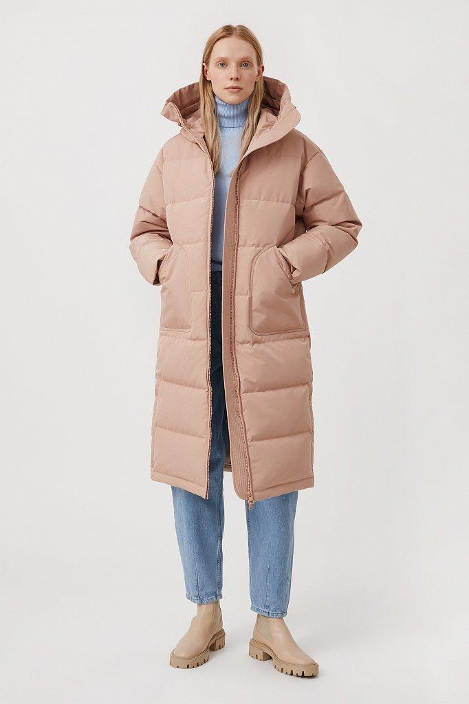 Пуховое женское пальто свободного кроя, Модель FAB11086, Фото №2