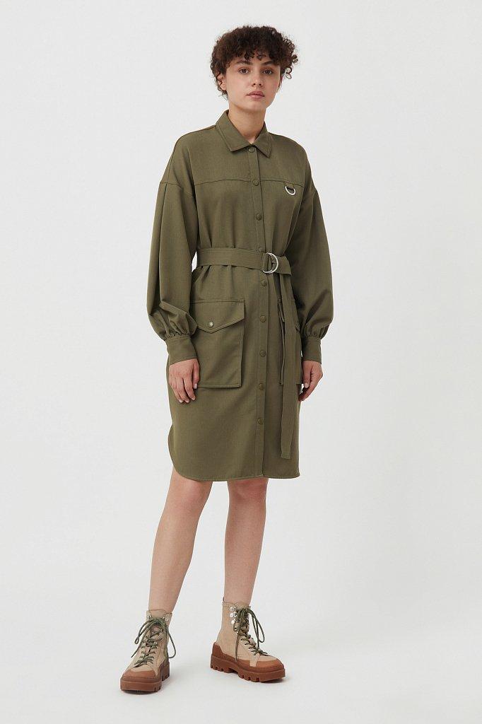 Платье-рубашка оверсайз с объемными рукавами, Модель FAB11011, Фото №3
